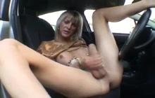 Horny T-girl masturbating outdoors