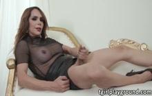 Busty Latina Tgirl Sofia Sanders enjoys studs black cock