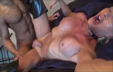 Horny blonde shemale takes BBC