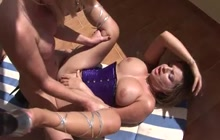 Big Tit Blonde Rides Shemale Cock