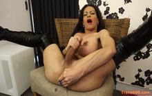 Latina TS Lluda Fortune toys ass and masturbates