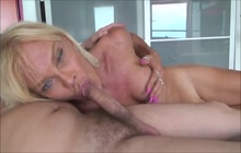POV blowjob with horny mature shemale