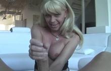 T-girl giving a handjob